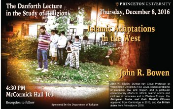 2016 Danforth Lecture featuring John R. Bowen